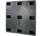 45 x 45 Stackable Solid Deck Plastic Pallet w/ 3 Runners - Assembled - Black - OWS PP-S-4545-SG.3R CTC 4545-CTC-C-45R-SW - Standing
