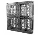 48 x 48 Rackable Stackable Plastic Pallet - Greystone OS.48.48.000 OWS PP-O-48-R2 Standing 3-4